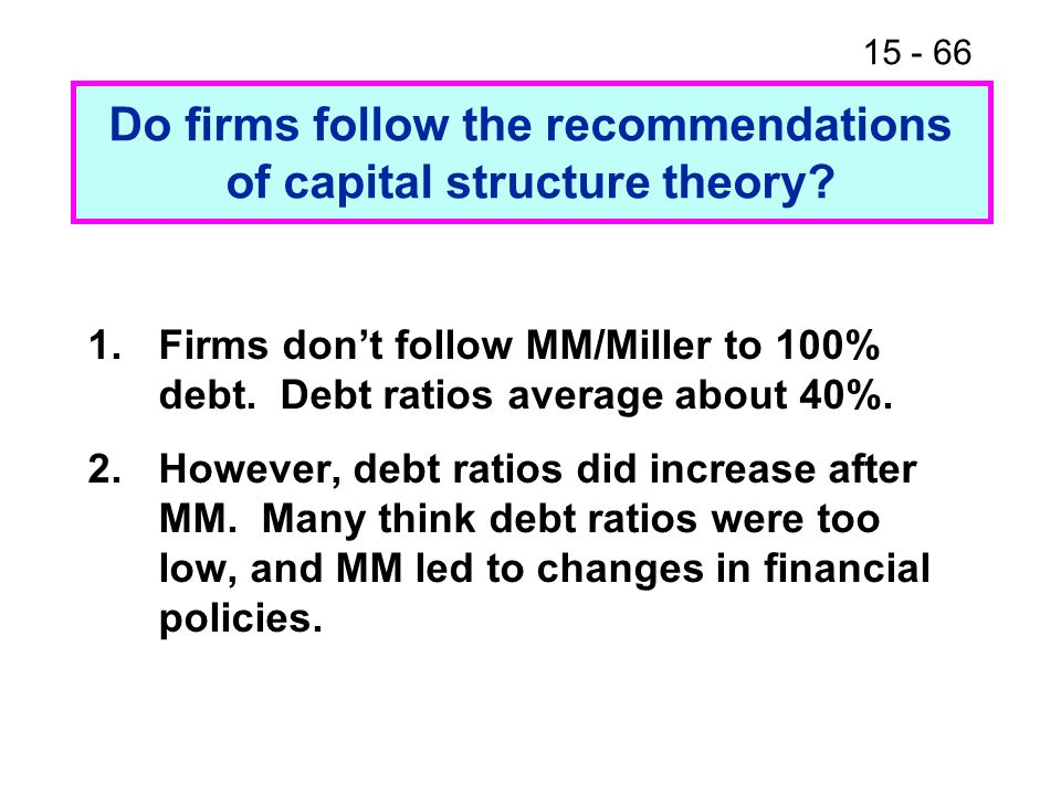 Do firms follow the recommendations of capital structure theory