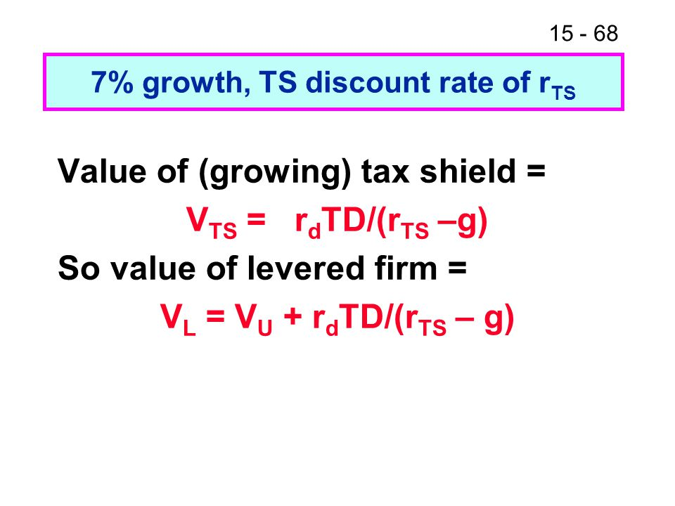 7% growth, TS discount rate of rTS
