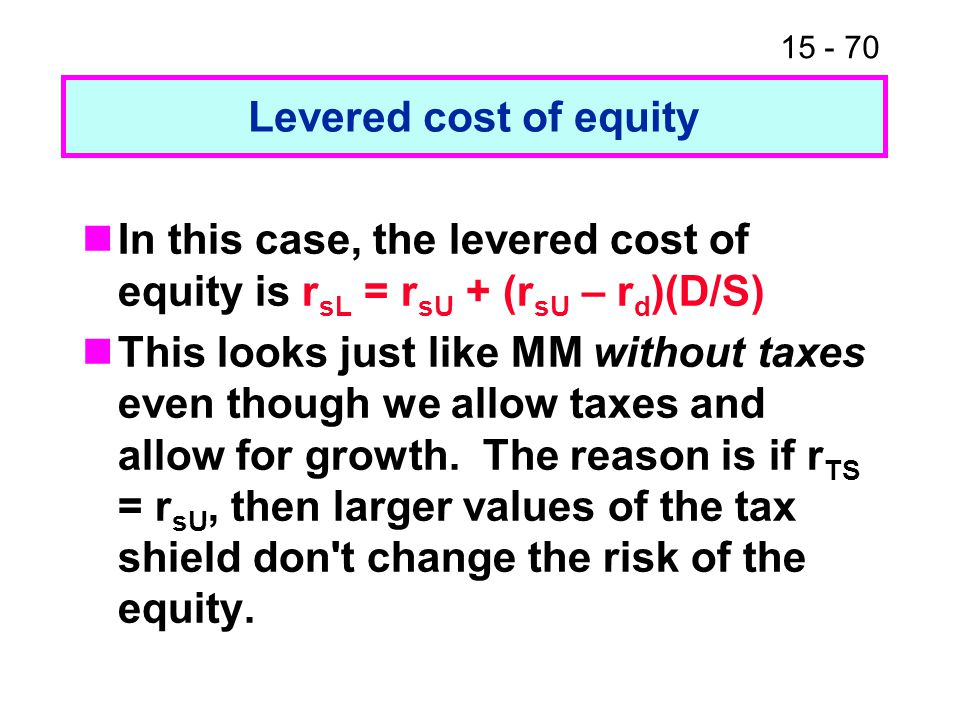 Levered cost of equity In this case, the levered cost of equity is rsL = rsU + (rsU – rd)(D/S)