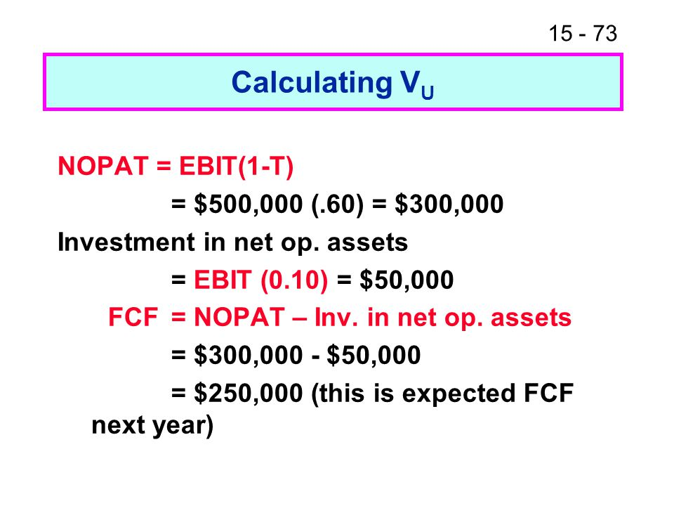 Calculating VU NOPAT = EBIT(1-T) = $500,000 (.60) = $300,000