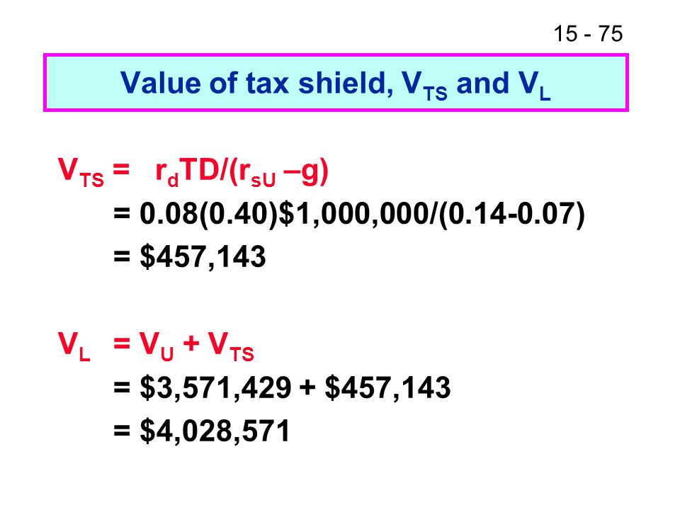Value of tax shield, VTS and VL