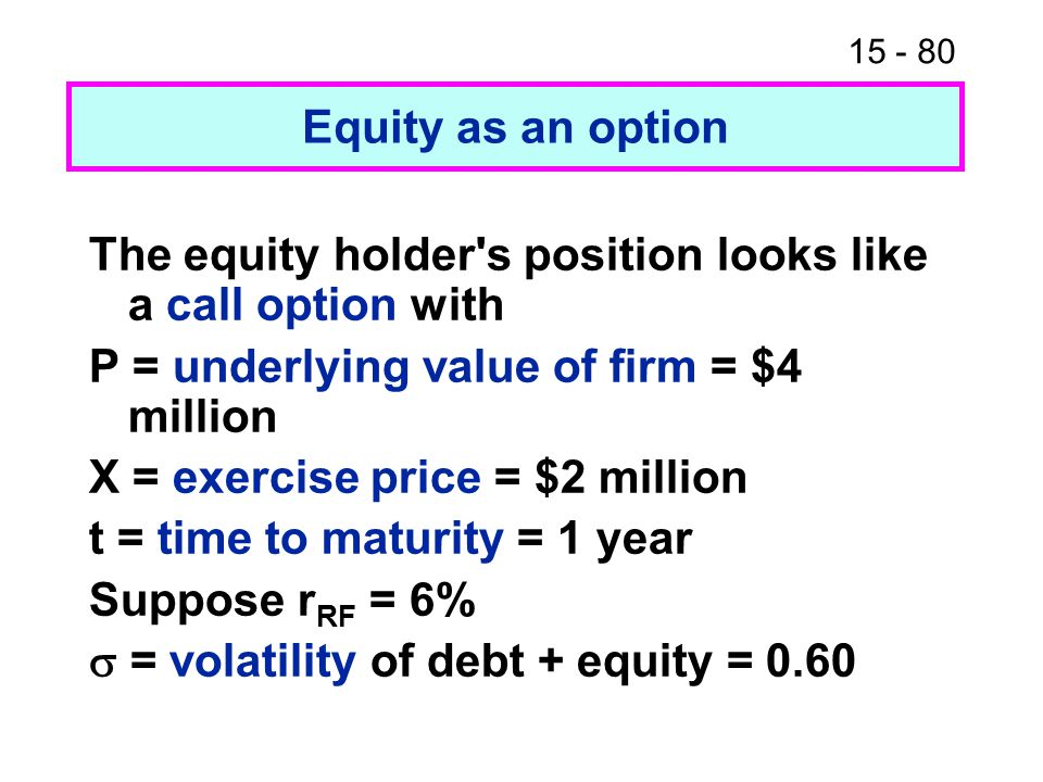 Equity as an option The equity holder s position looks like a call option with. P = underlying value of firm = $4 million.