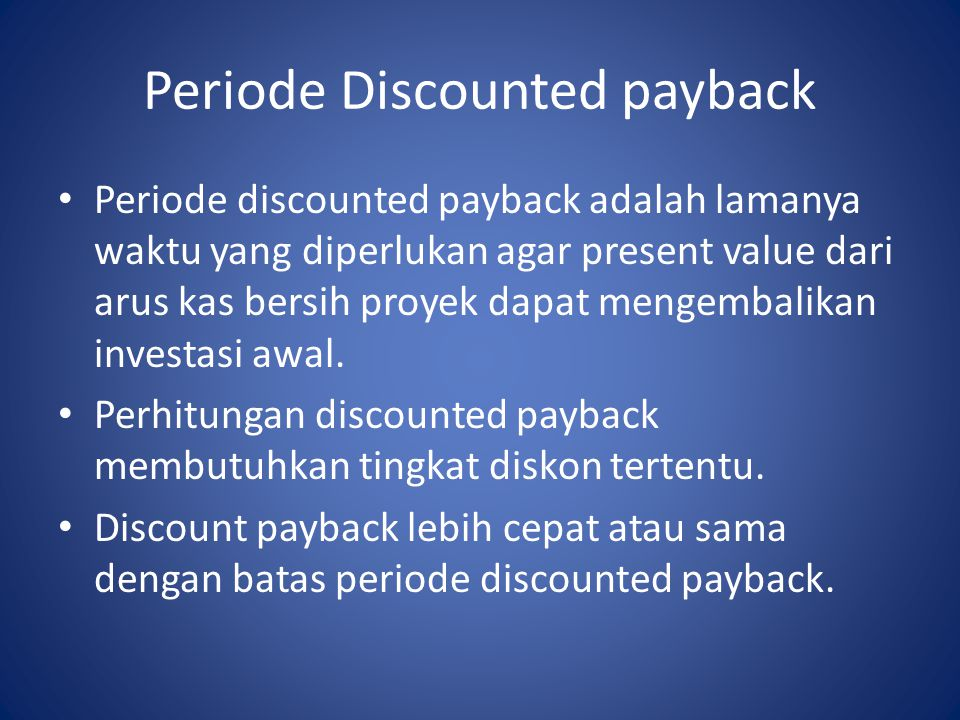 Periode Discounted payback