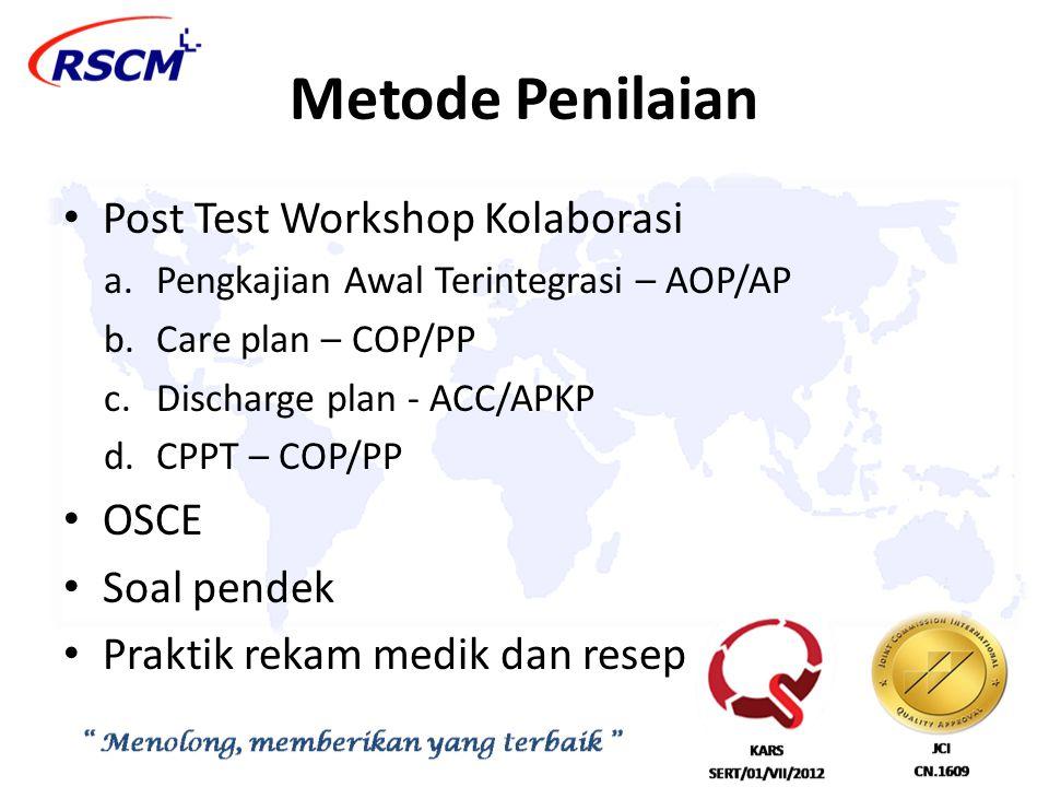 Metode Penilaian Post Test Workshop Kolaborasi OSCE Soal pendek