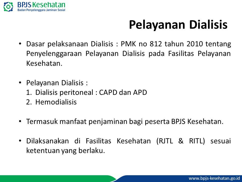 Pelayanan Dialisis Dasar pelaksanaan Dialisis : PMK no 812 tahun 2010 tentang Penyelenggaraan Pelayanan Dialisis pada Fasilitas Pelayanan Kesehatan.