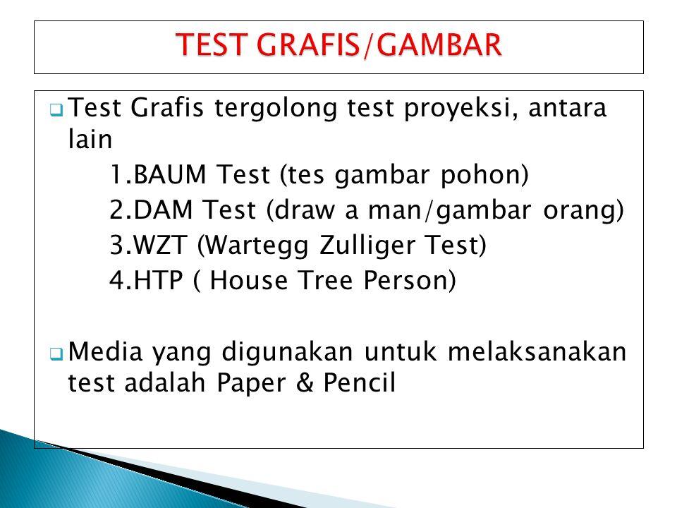 TEST GRAFIS/GAMBAR Test Grafis tergolong test proyeksi, antara lain