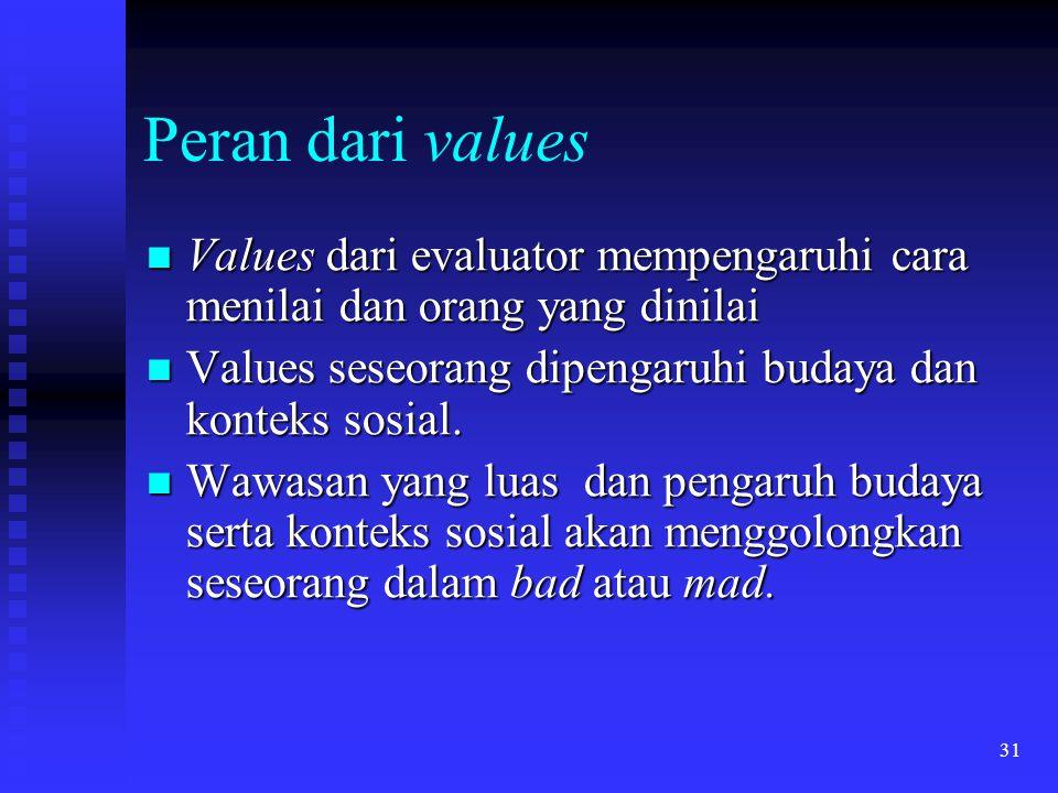 Peran dari values Values dari evaluator mempengaruhi cara menilai dan orang yang dinilai. Values seseorang dipengaruhi budaya dan konteks sosial.