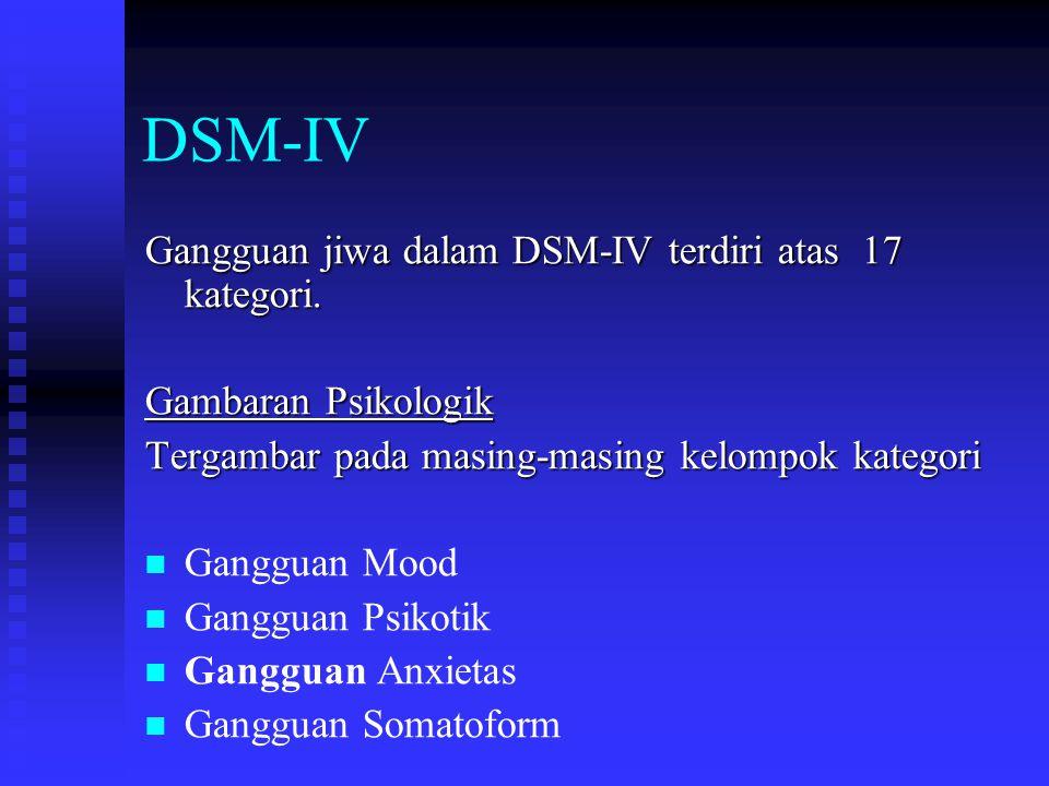DSM-IV Gangguan jiwa dalam DSM-IV terdiri atas 17 kategori.
