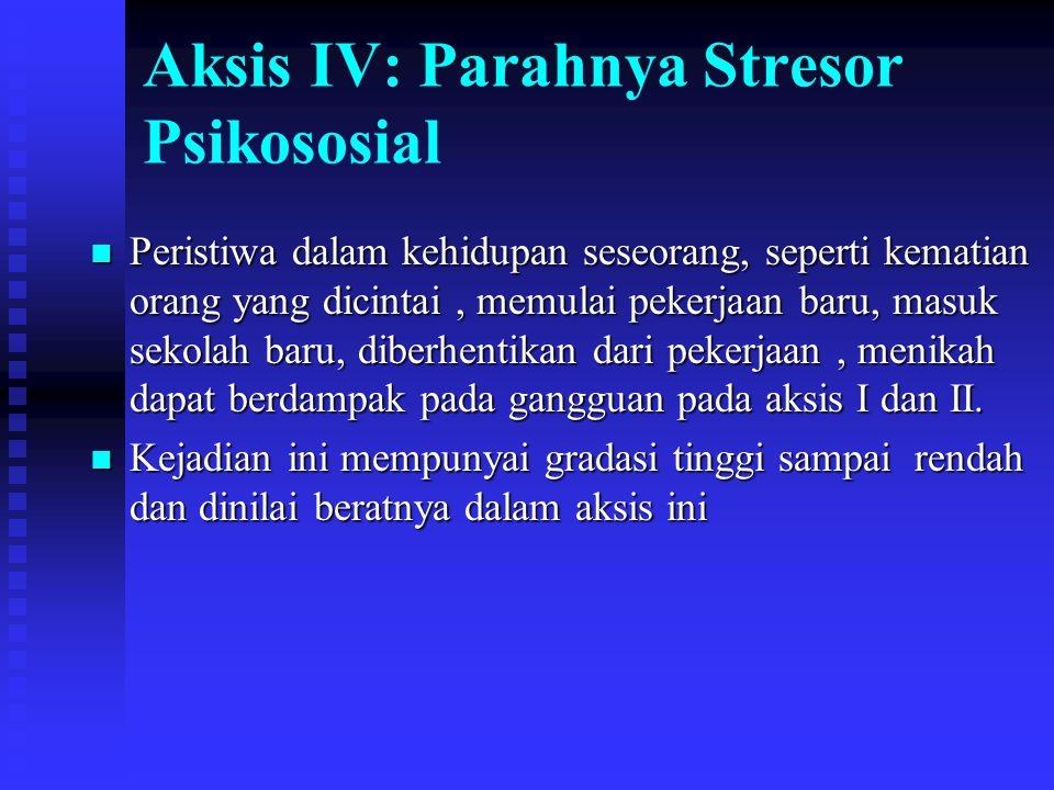 Aksis IV: Parahnya Stresor Psikososial