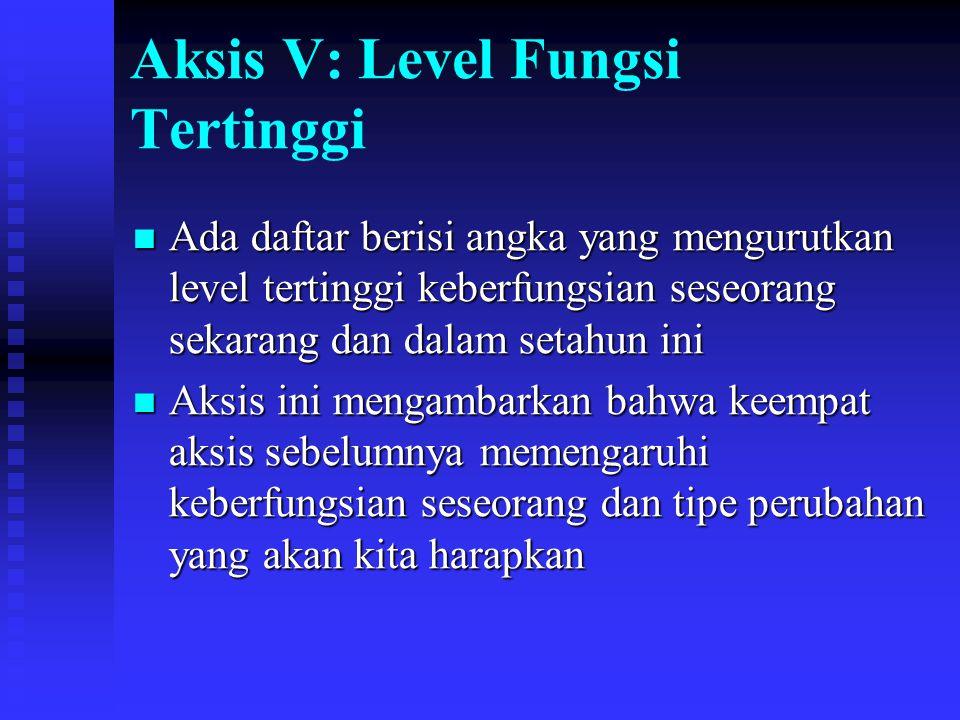 Aksis V: Level Fungsi Tertinggi