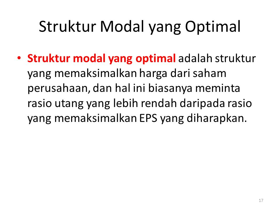 Struktur Modal yang Optimal