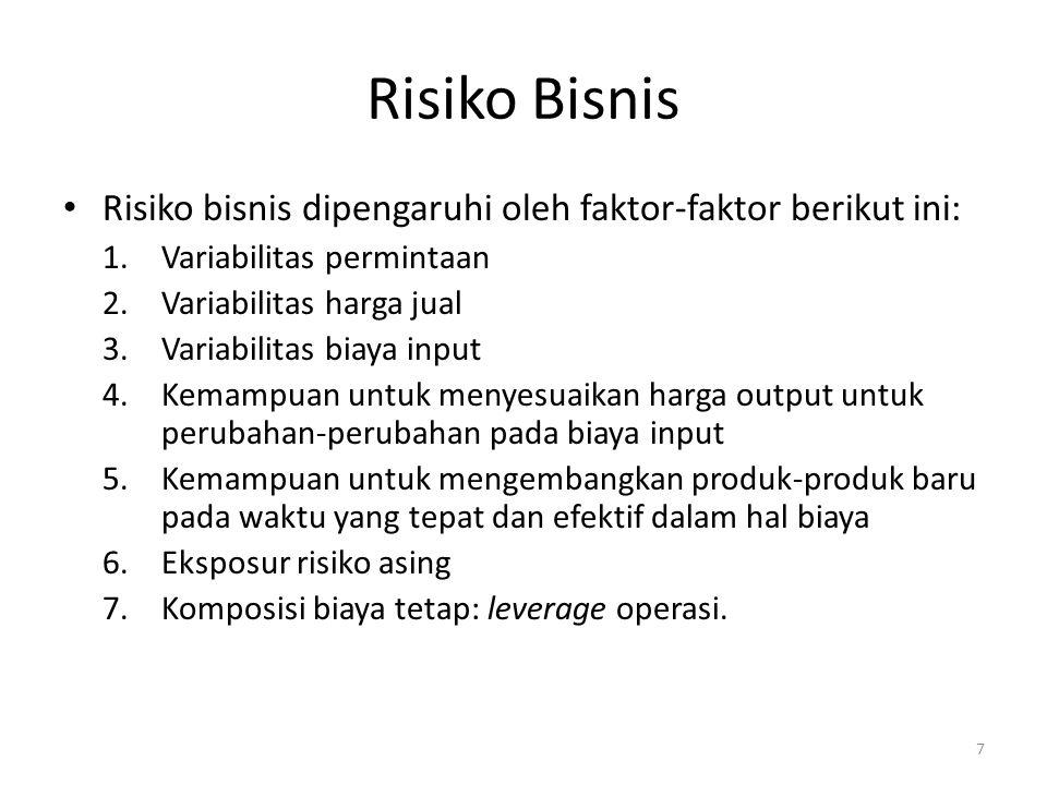 Risiko Bisnis Risiko bisnis dipengaruhi oleh faktor-faktor berikut ini: Variabilitas permintaan. Variabilitas harga jual.