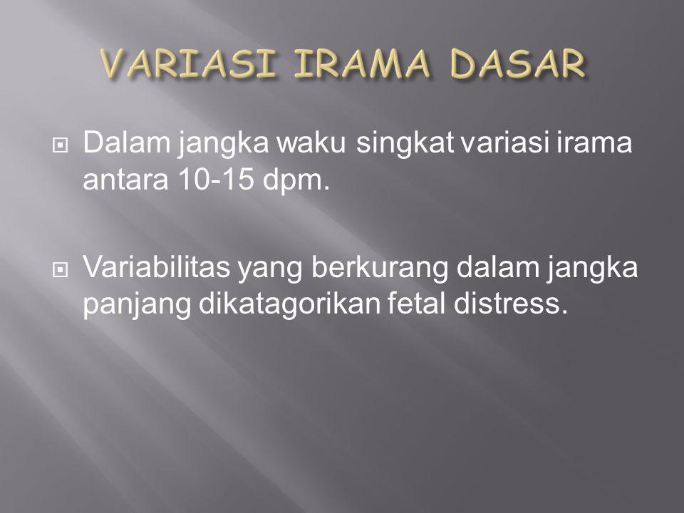 VARIASI IRAMA DASAR Dalam jangka waku singkat variasi irama antara 10-15 dpm.