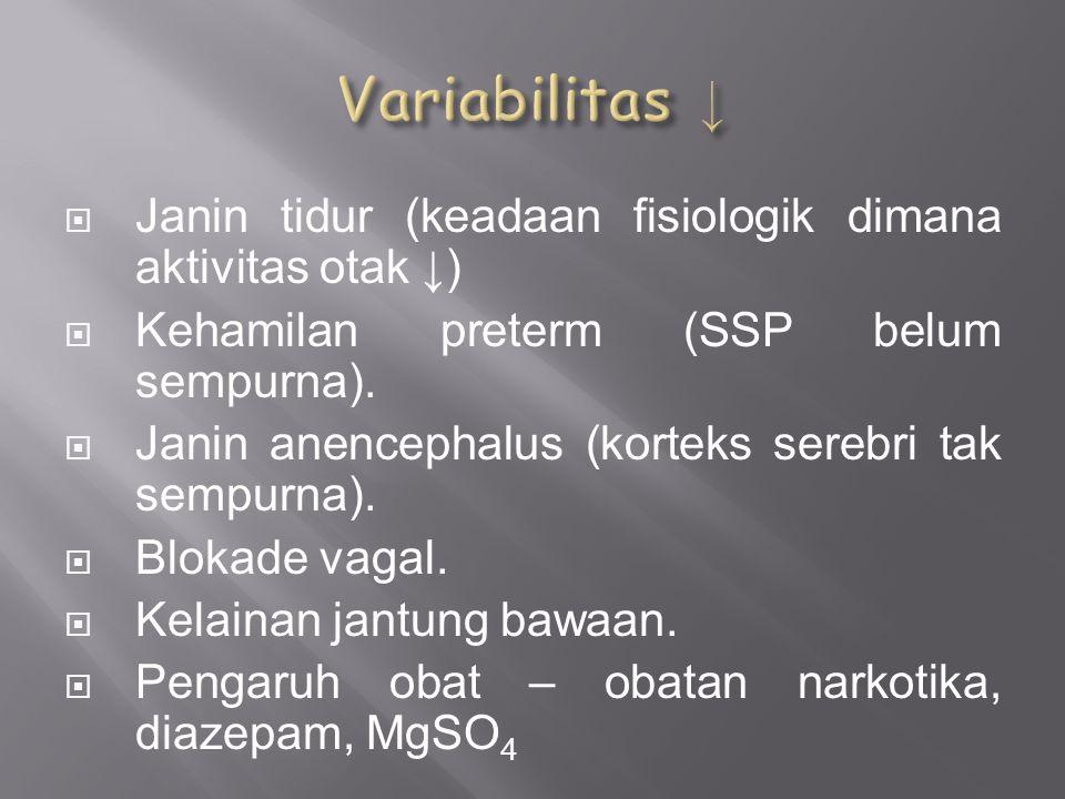Variabilitas ↓ Janin tidur (keadaan fisiologik dimana aktivitas otak ↓) Kehamilan preterm (SSP belum sempurna).