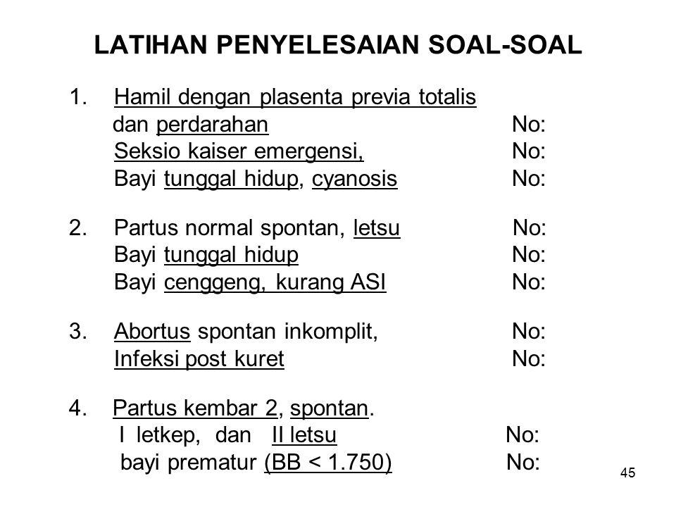 LATIHAN PENYELESAIAN SOAL-SOAL