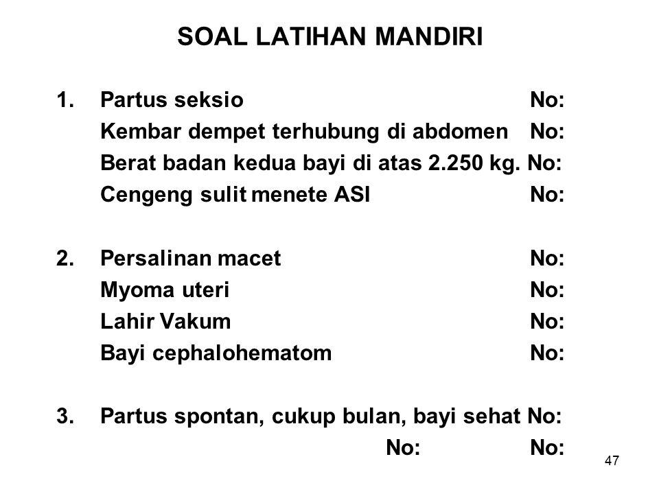 SOAL LATIHAN MANDIRI Partus seksio No: