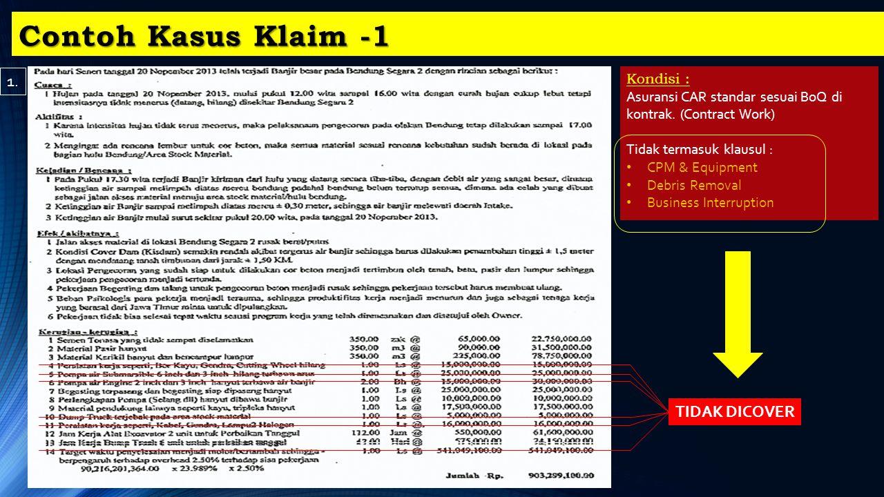 Contoh Kasus Klaim -1 1. TIDAK DICOVER Kondisi :