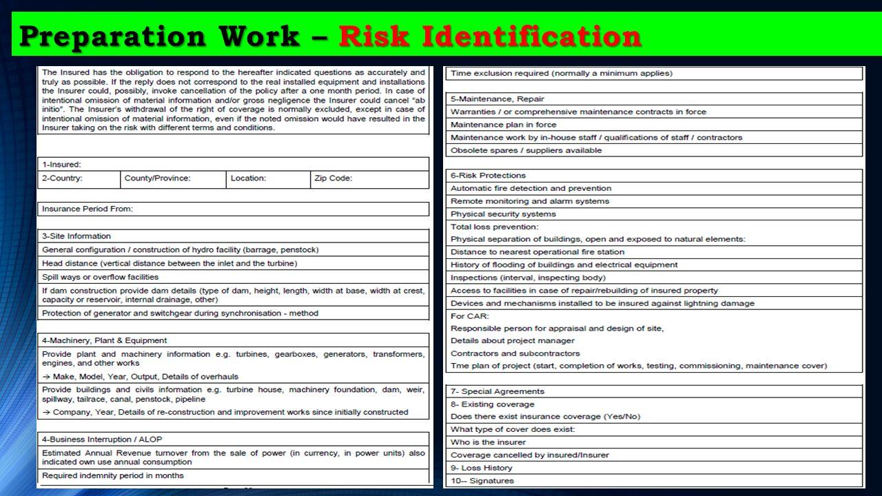 Preparation Work – Risk Identification