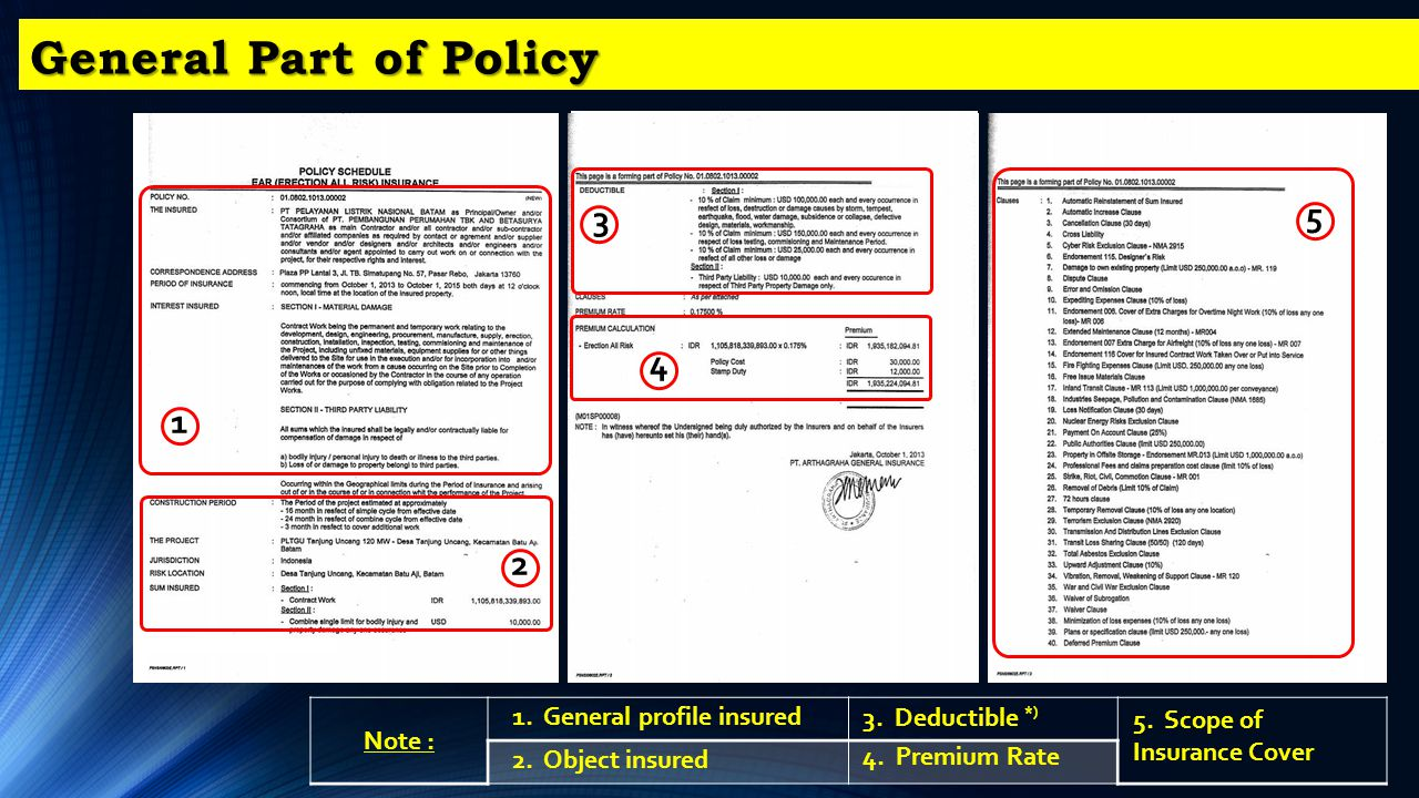 General Part of Policy 5 3 4 1 2 Note : 1. General profile insured
