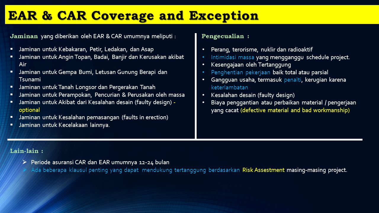 EAR & CAR Coverage and Exception
