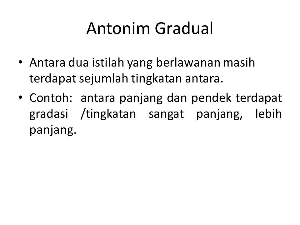 Antonim Gradual Antara dua istilah yang berlawanan masih terdapat sejumlah tingkatan antara.
