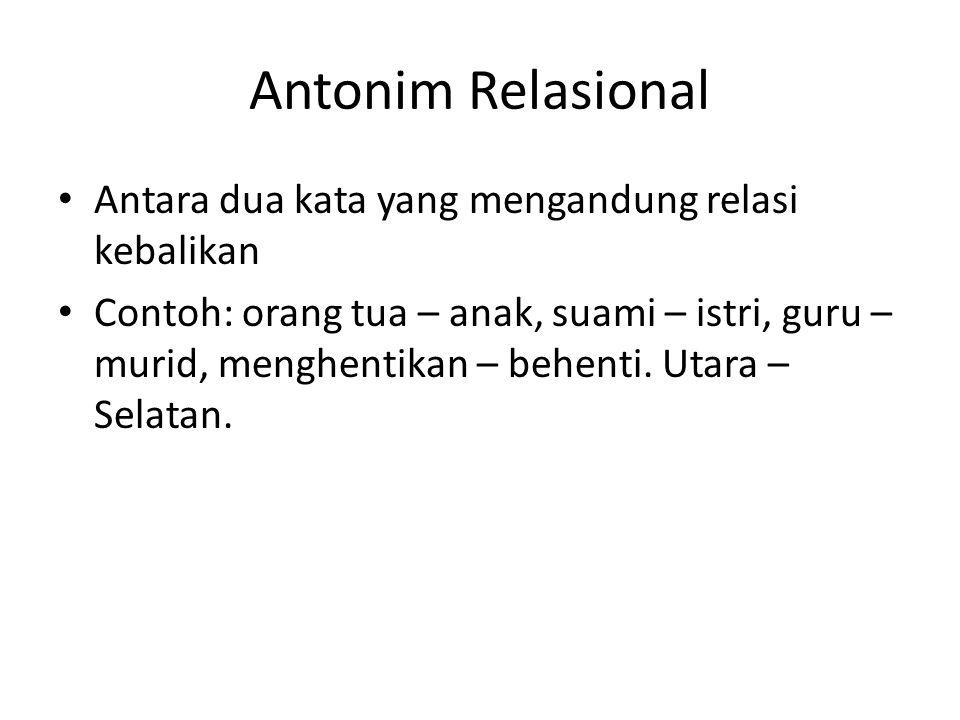 Antonim Relasional Antara dua kata yang mengandung relasi kebalikan