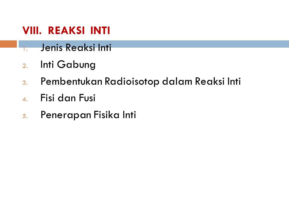 VIII. REAKSI INTI Jenis Reaksi Inti. Inti Gabung. Pembentukan Radioisotop dalam Reaksi Inti. Fisi dan Fusi.