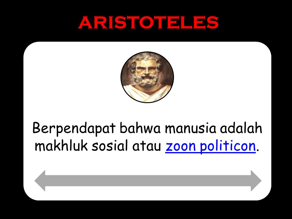 Berpendapat bahwa manusia adalah makhluk sosial atau zoon politicon.