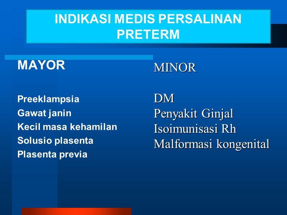MINOR DM Penyakit Ginjal Isoimunisasi Rh Malformasi kongenital