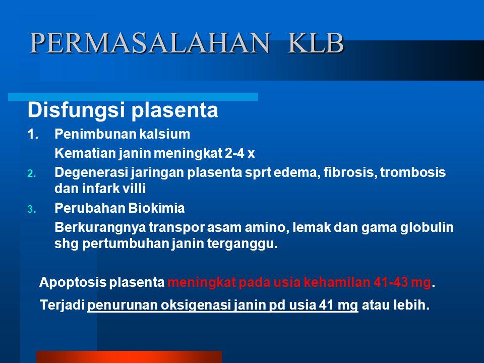 PERMASALAHAN KLB Disfungsi plasenta 1. Penimbunan kalsium