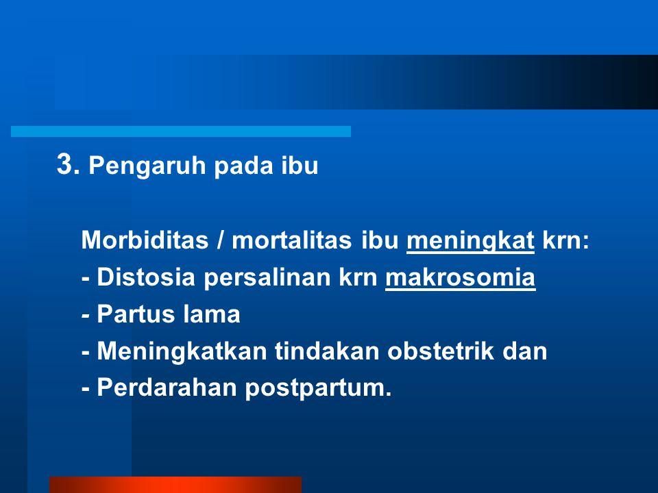 3. Pengaruh pada ibu Morbiditas / mortalitas ibu meningkat krn: