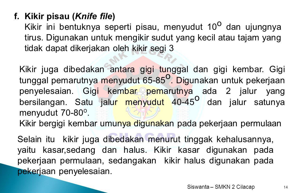 f. Kikir pisau (Knife file)