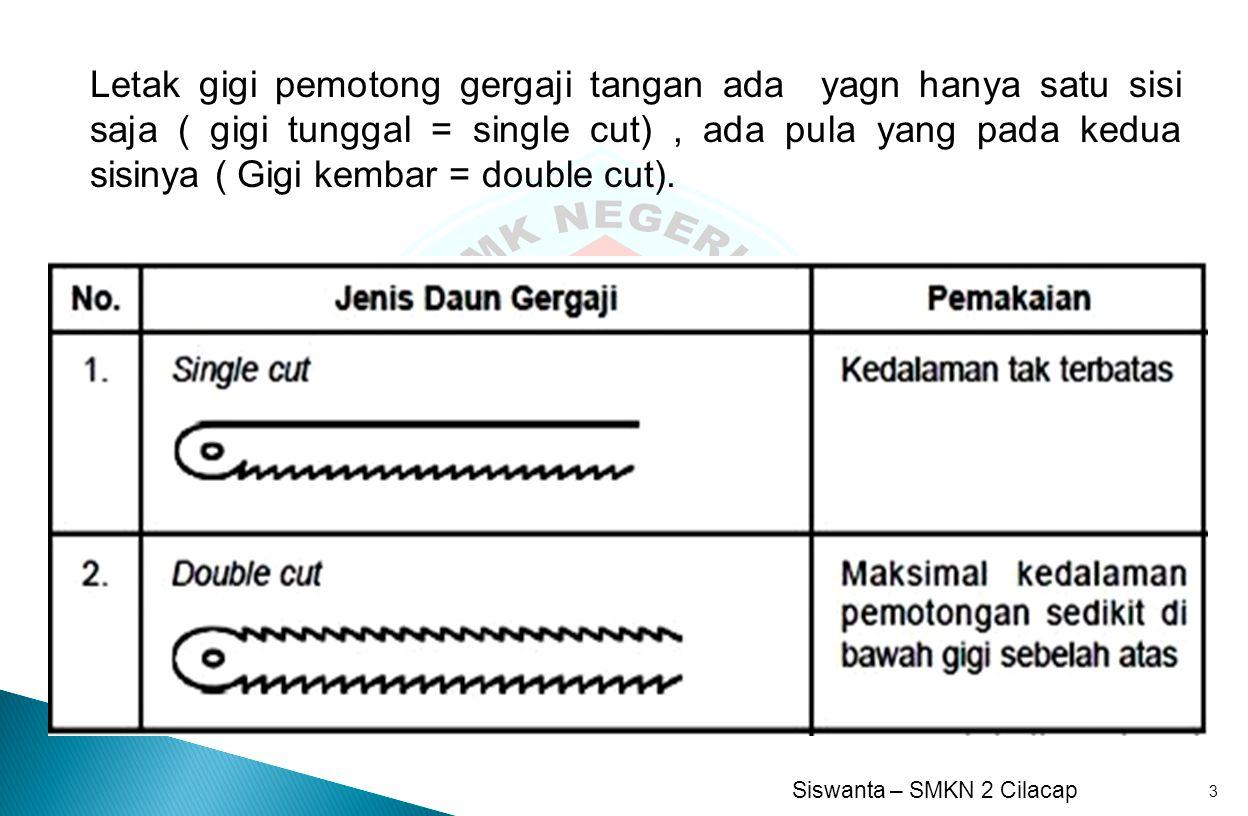 Letak gigi pemotong gergaji tangan ada yagn hanya satu sisi saja ( gigi tunggal = single cut) , ada pula yang pada kedua sisinya ( Gigi kembar = double cut).