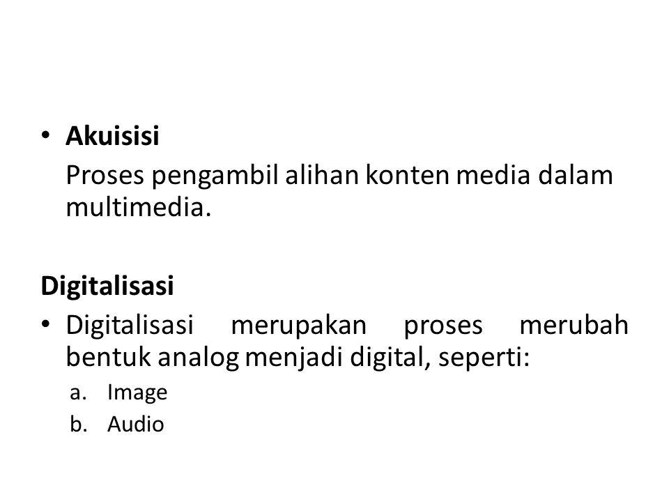 Proses pengambil alihan konten media dalam multimedia.