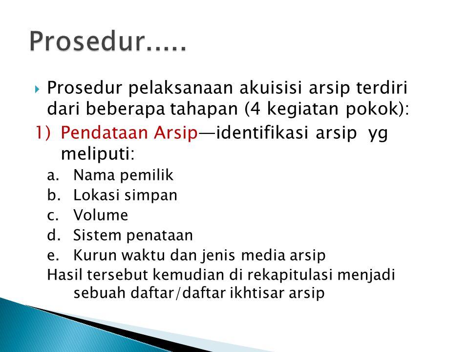 Prosedur..... Prosedur pelaksanaan akuisisi arsip terdiri dari beberapa tahapan (4 kegiatan pokok):