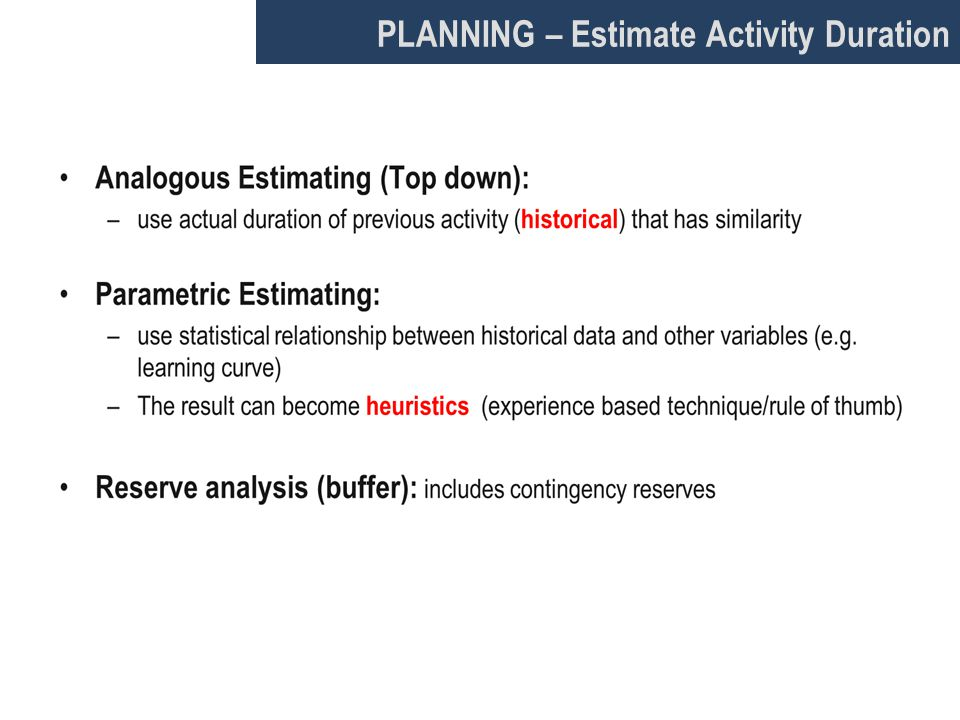 PLANNING – Estimate Activity Duration