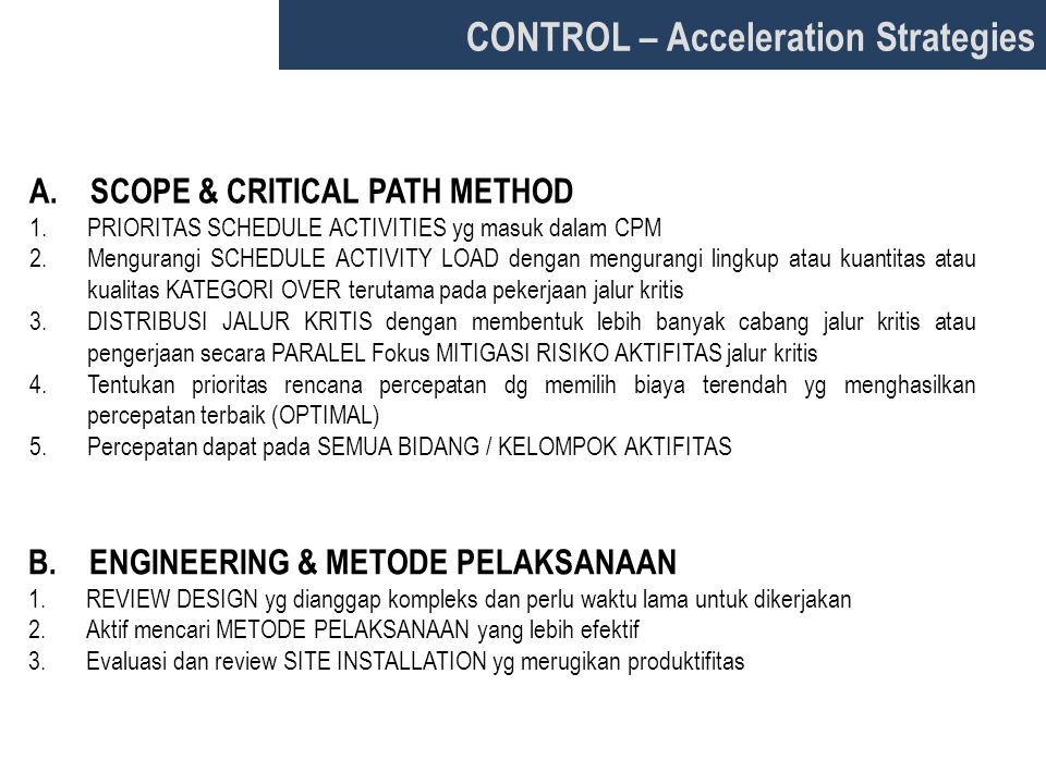 CONTROL – Acceleration Strategies
