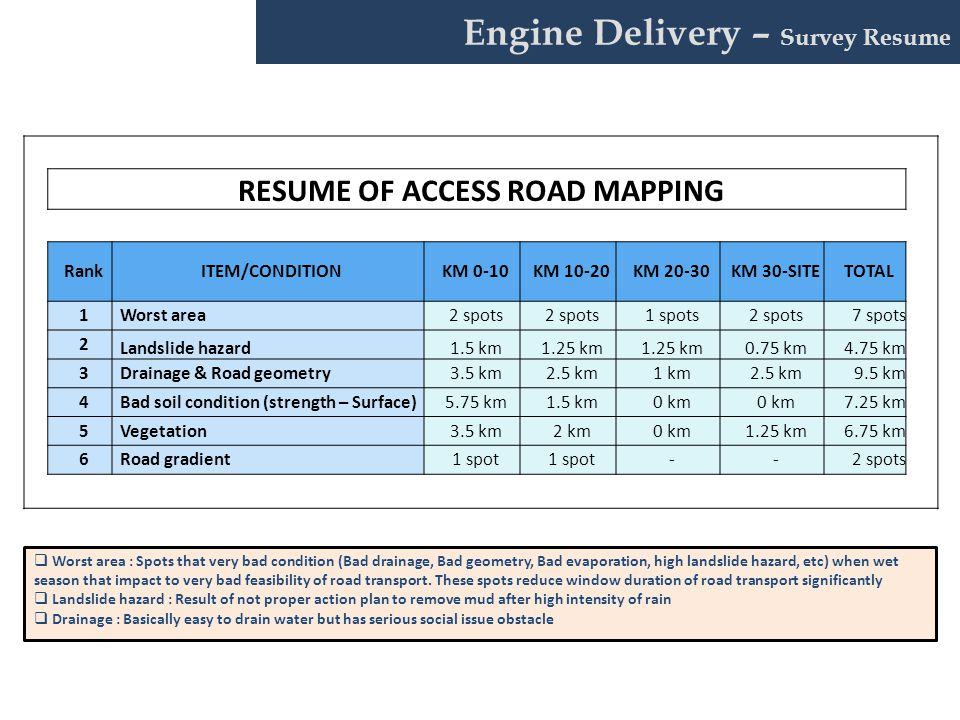 RESUME OF ACCESS ROAD MAPPING