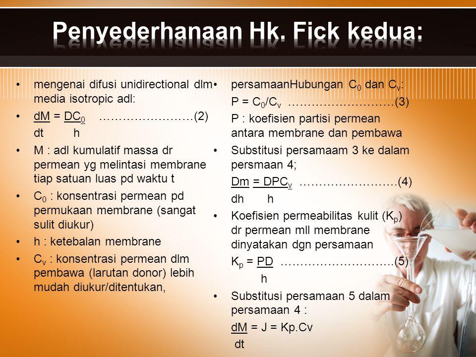 Penyederhanaan Hk. Fick kedua: