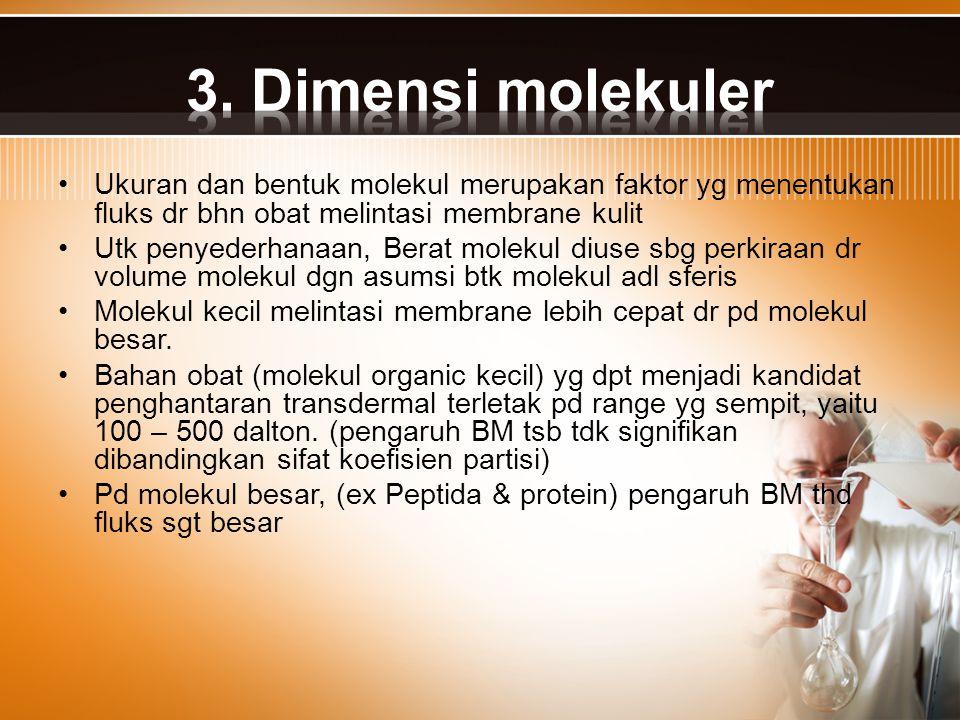3. Dimensi molekuler Ukuran dan bentuk molekul merupakan faktor yg menentukan fluks dr bhn obat melintasi membrane kulit.