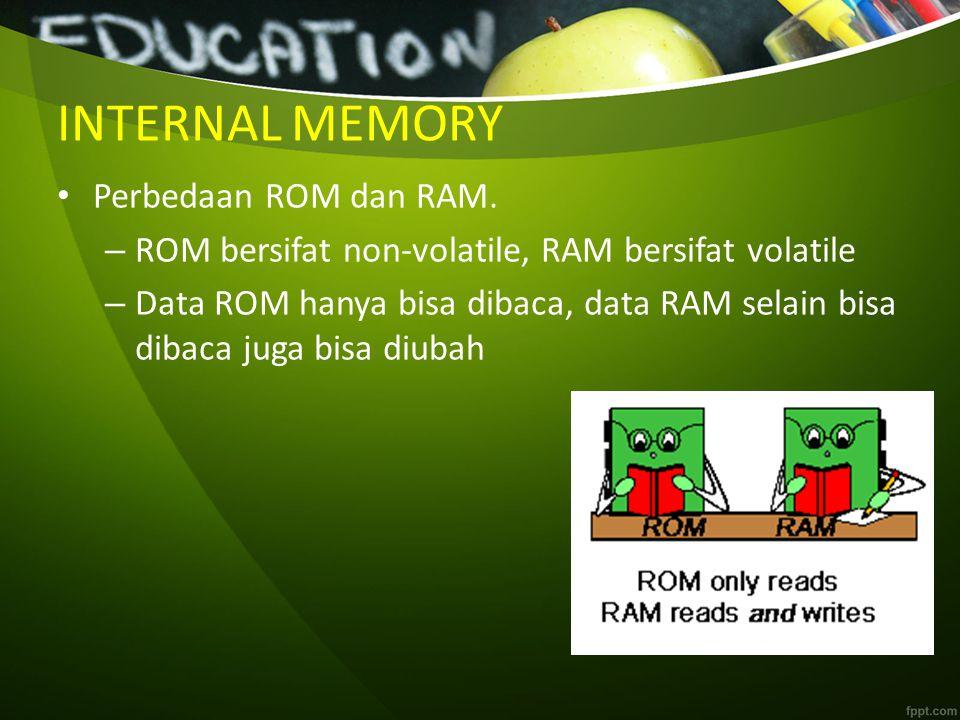 INTERNAL MEMORY Perbedaan ROM dan RAM.