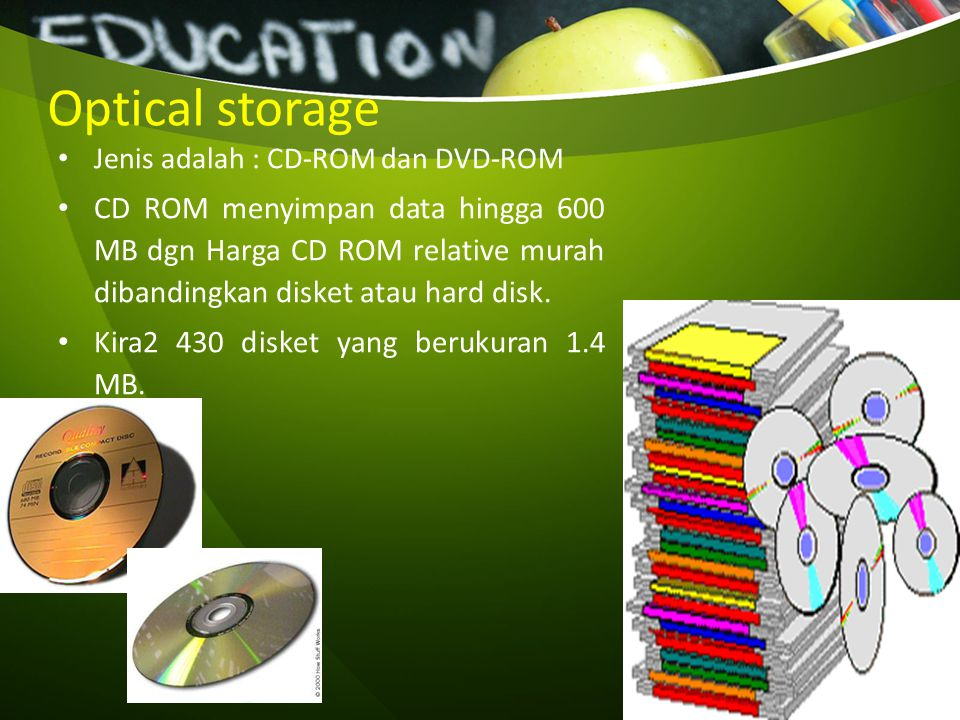 Optical storage Jenis adalah : CD-ROM dan DVD-ROM.