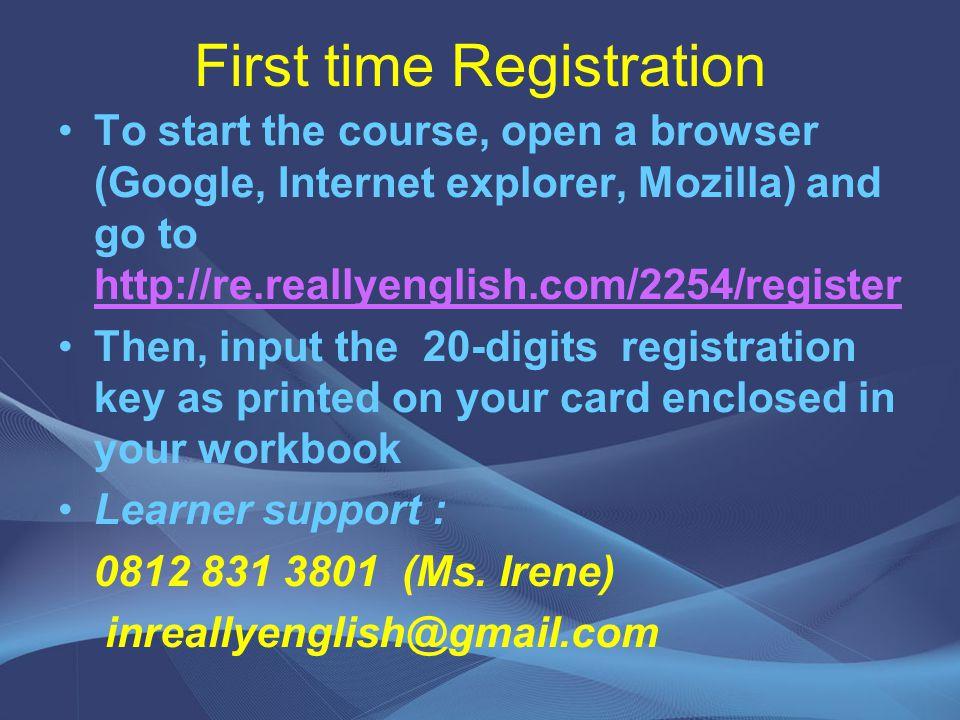 First time Registration
