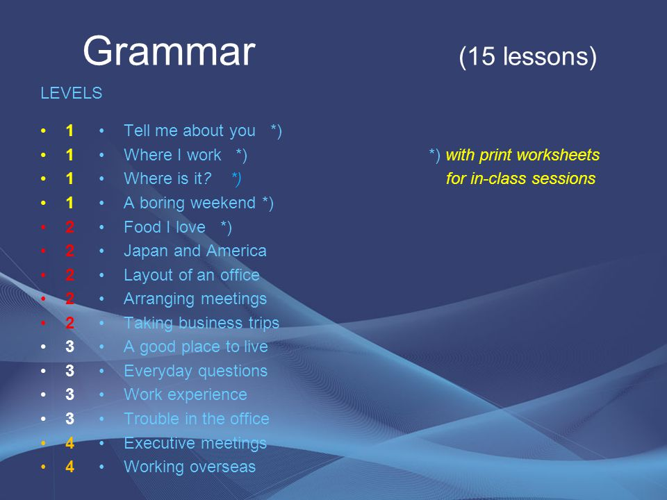 Grammar (15 lessons) LEVELS 1 2 3 4 Tell me about you *)
