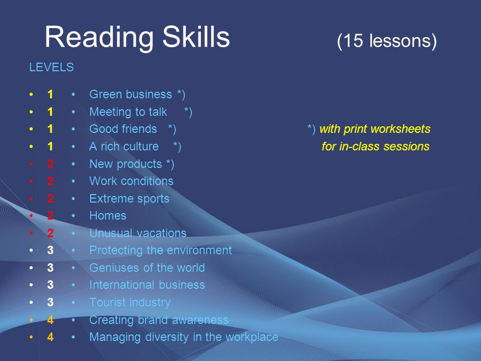 Reading Skills (15 lessons)