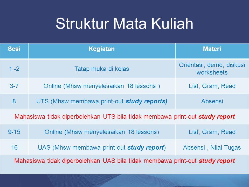 Struktur Mata Kuliah Sesi Kegiatan Materi 1 -2 Tatap muka di kelas