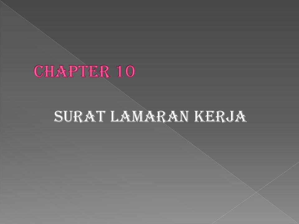 Chapter 10 Surat lamaran kerja