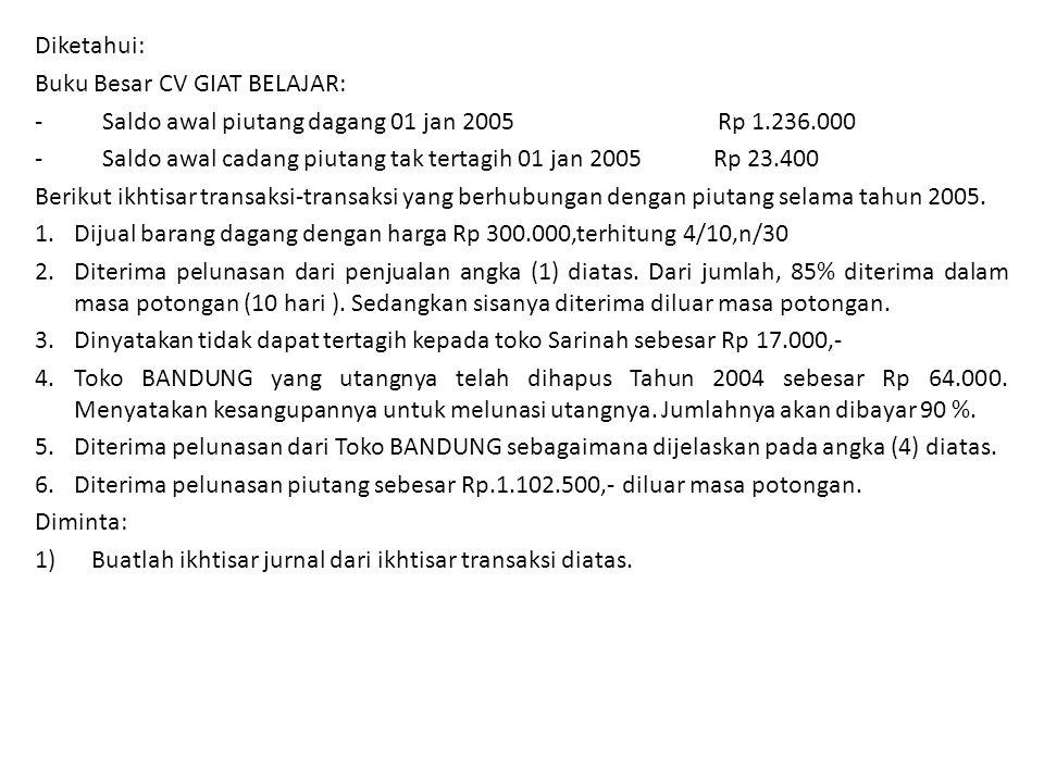 Diketahui: Buku Besar CV GIAT BELAJAR: - Saldo awal piutang dagang 01 jan 2005 Rp 1.236.000.