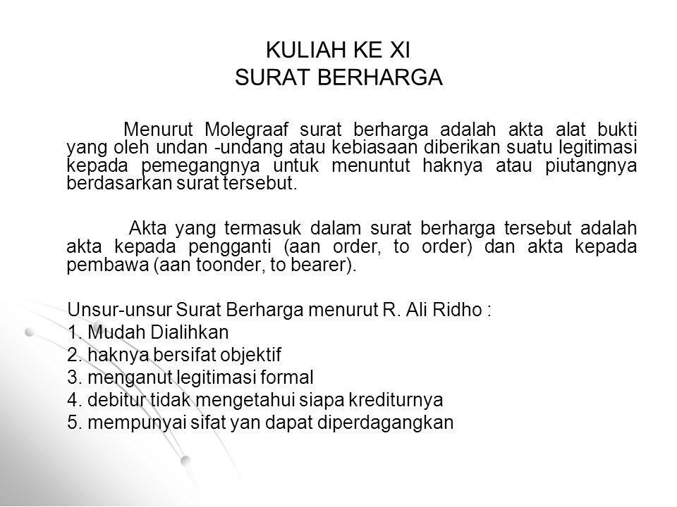 KULIAH KE XI SURAT BERHARGA