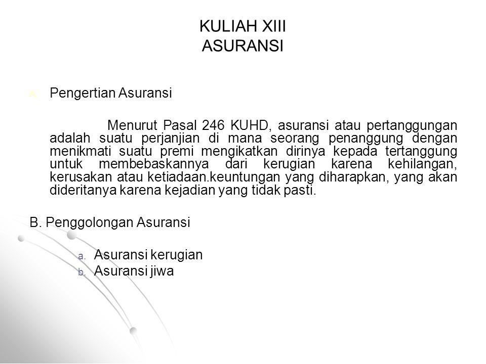 KULIAH XIII ASURANSI Pengertian Asuransi